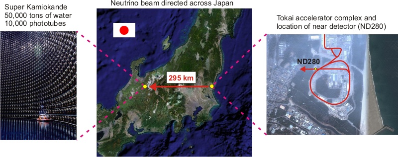 aerial image of Japan showing the location of the T2K experiment